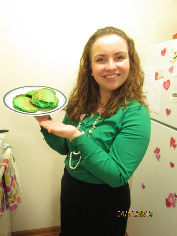Sister Milliron made her greenie companion (Sister Whitney) green pancakes for breakfast