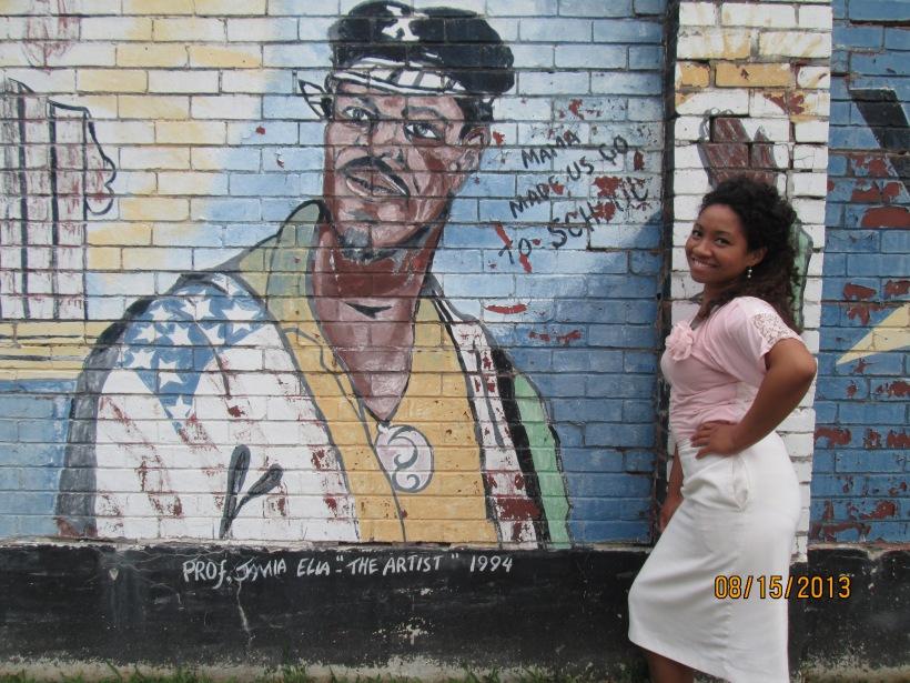 posing near a graffiti