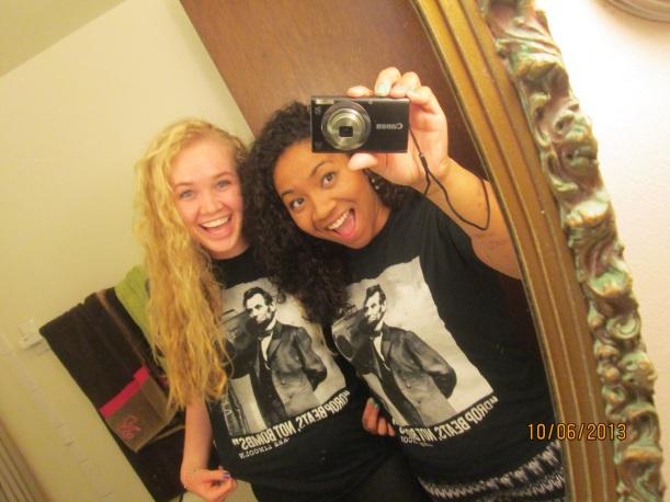 Hermana Whitney and Hermana Boushka with their Abe Lincoln tshirts