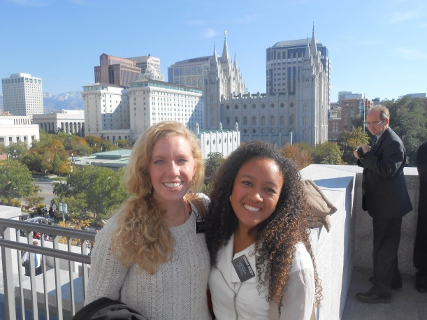 Hermana Whitney and companion Hermama Arnell at the conference center
