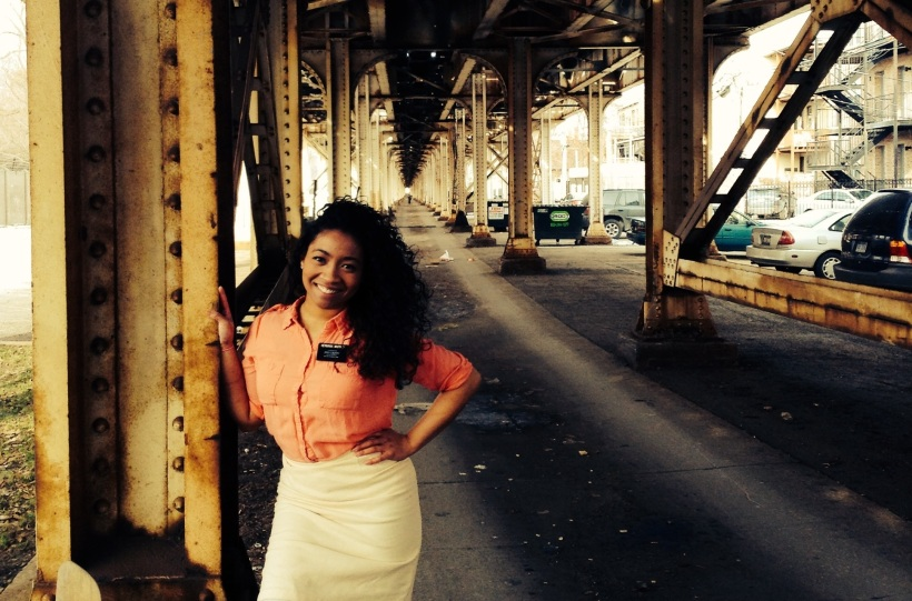 It was like below zero temp but we took off our jackets just to have this picture taken under Chicago train tracks