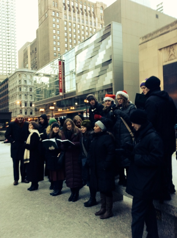 Christmas caroling in the city of Chicago
