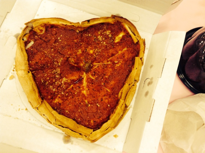 Feliz Dia de San Valentin! There was a party for Valentines Day at the church for my ward and a couple brought this pizza to the party. They shared it of course. Giordano's pizza is the best... out here.