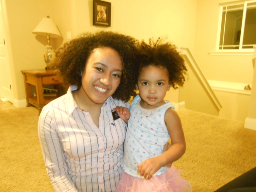 This is Audri. She's half black and half Hispanic. She's speaks both Spanish and English. We were rocking our hair together! Hahaha. Don't we look alike? Haha. I love her! She;s soo cute!!