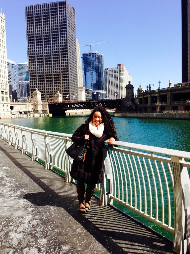Right alongside the Trump Tower w/ Chicago River. They turned the Chicago River green for St. Patricks Day.