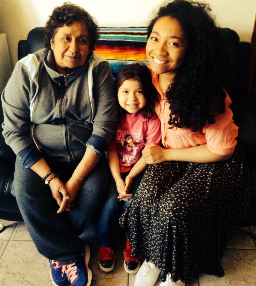 Hermana Monreal and her granddaughter Miley and me.