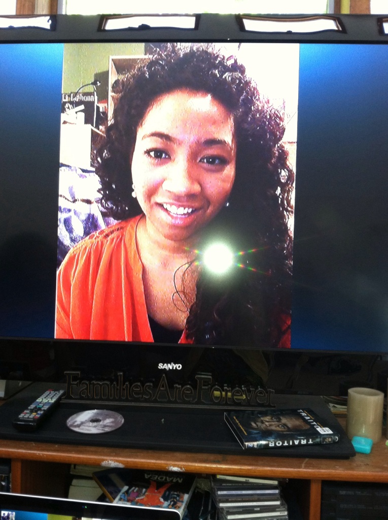 Eishelle skypeing with us on Mother's Day!