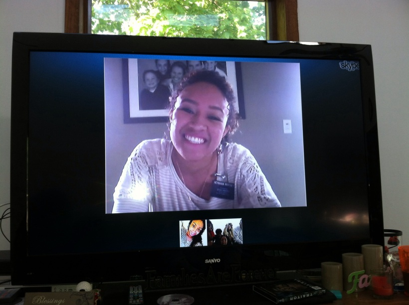 Danielle skypeing with us on Mother's Day.