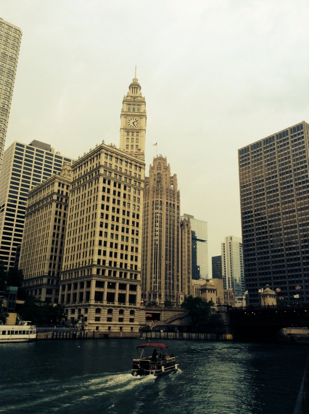 Cool building I do not know the name. Chicago Tribune below the tall building on the left
